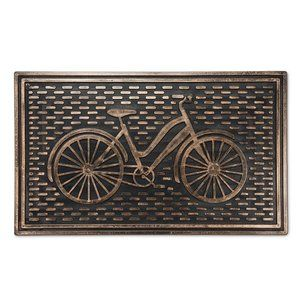 Bicycle Black Rubber Embossed Gold Welcome Doormat